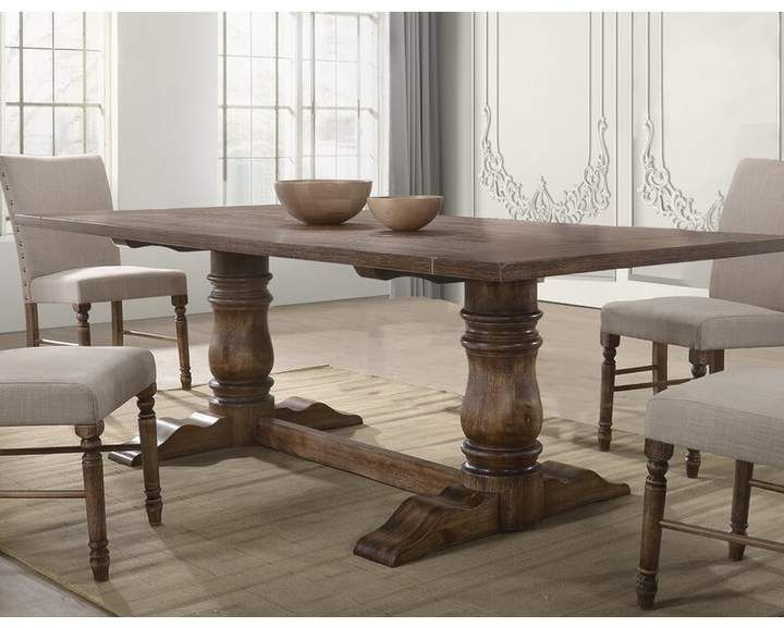 Gracie Oaks Brixton Dining Table In 2020 | Solid Wood For Most Popular Gaspard Maple Solid Wood Pedestal Dining Tables (View 9 of 15)