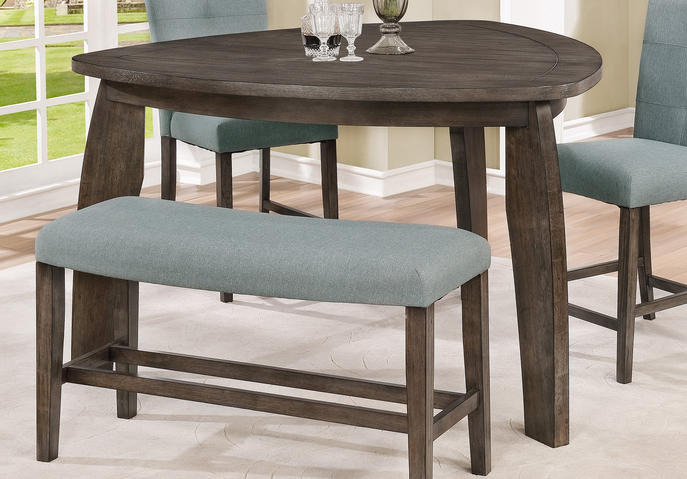 Gray 4 Piece Counter Height Tri Table Dining Set – Hollis For Best And Newest Hearne Counter Height Dining Tables (View 10 of 15)