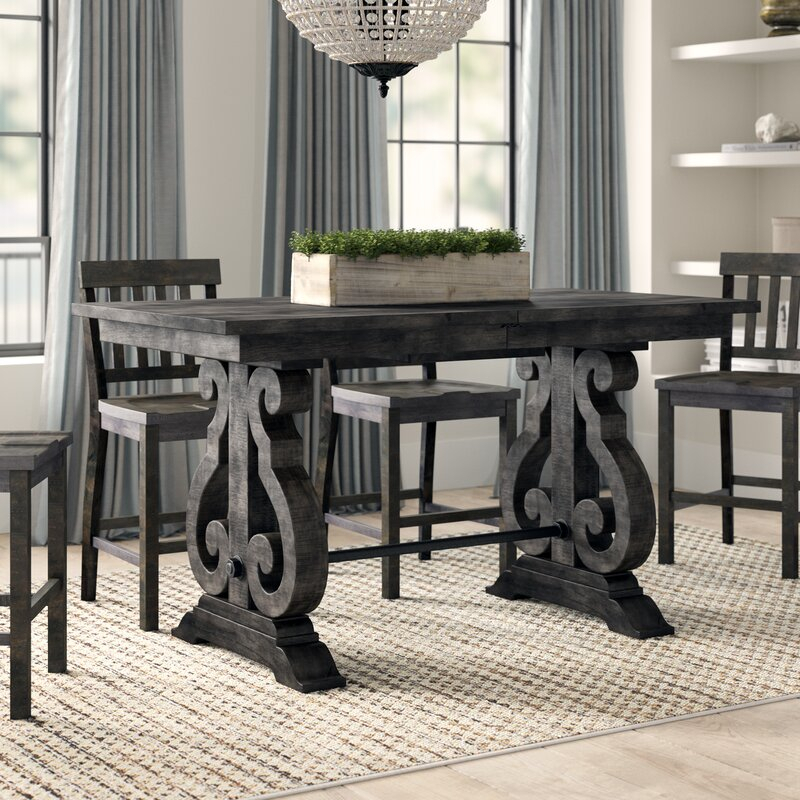 Greyleigh Ellenton Counter Height Extendable Solid Wood Pertaining To 2017 Counter Height Extendable Dining Tables (View 10 of 15)