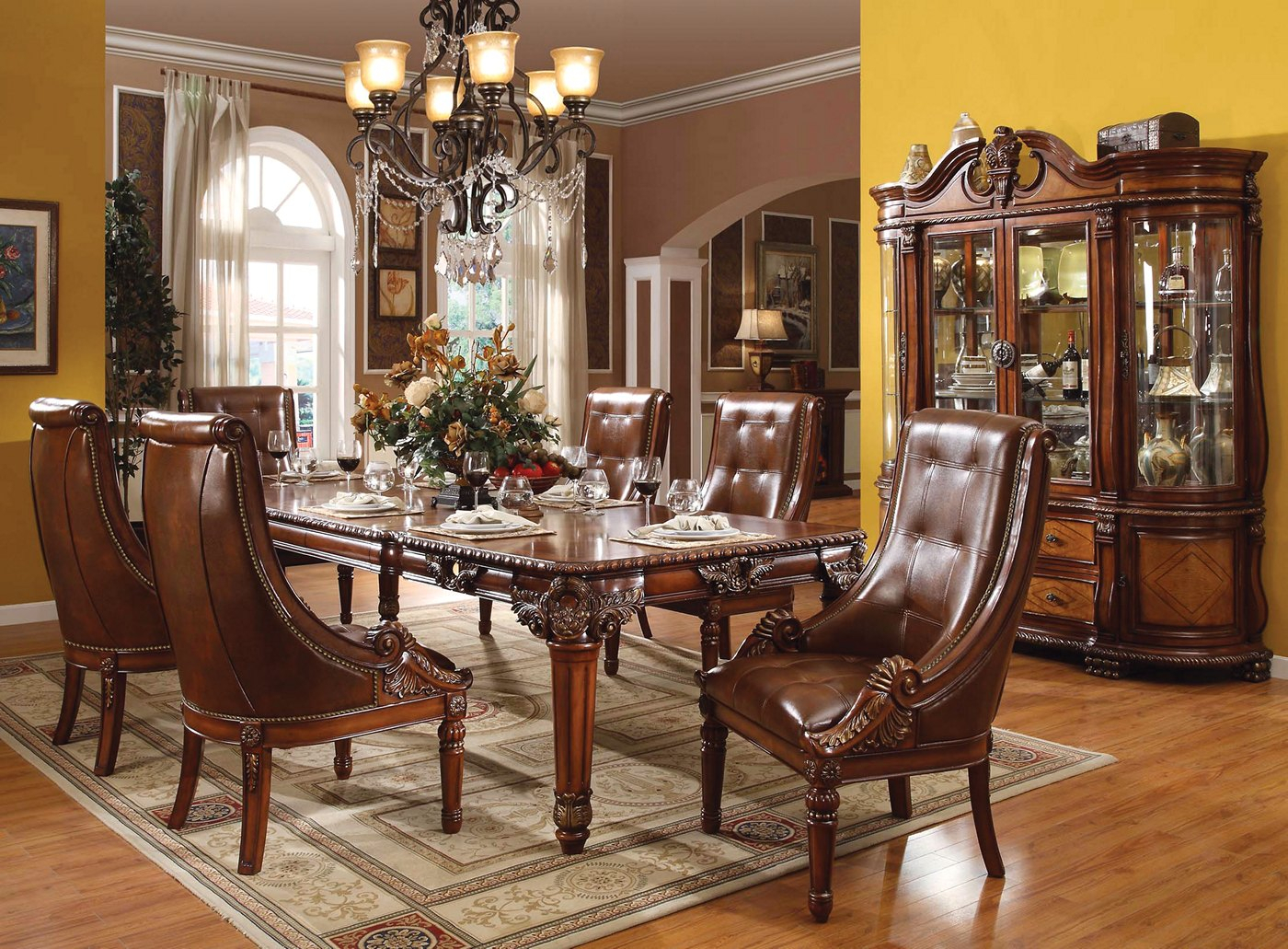 """Greyson Traditional 5 Pc Ornate 80"""" 120"""" Dining Table Set With Most Up To Date Classic Dining Tables (View 15 of 15)"""
