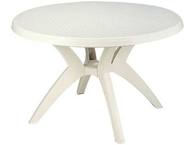Grosfillex Ibiza Resin White 46''Wide Round Dining Table In Best And Newest Nazan 46'' Dining Tables (Photo 7 of 15)