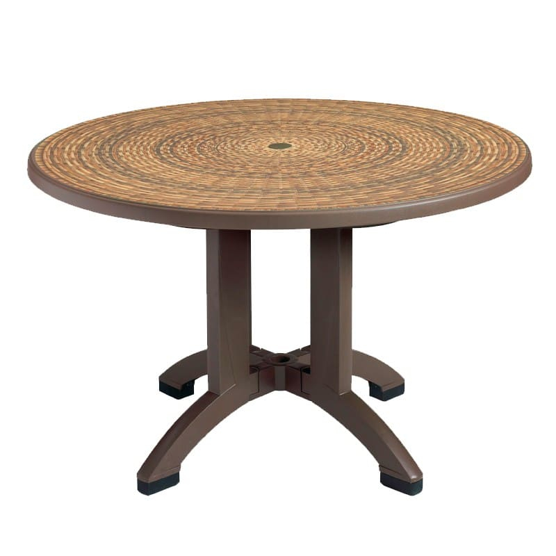 """Grosfillex Us715037 48"""" Round Aquaba Outdoor Table W In Latest Collis Round Glass Breakroom Tables (View 10 of 15)"""