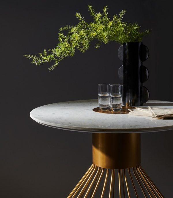 """Gwen 40"""" Pedestal Marble Dining Table – Inspired Redesign Within Most Recently Released Granger  (View 9 of 15)"""