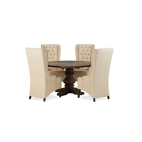 Haddie Light Tone Round Table & 4 Upholstered Chairs Regarding 2018 Tudor City 28'' Dining Tables (View 13 of 15)