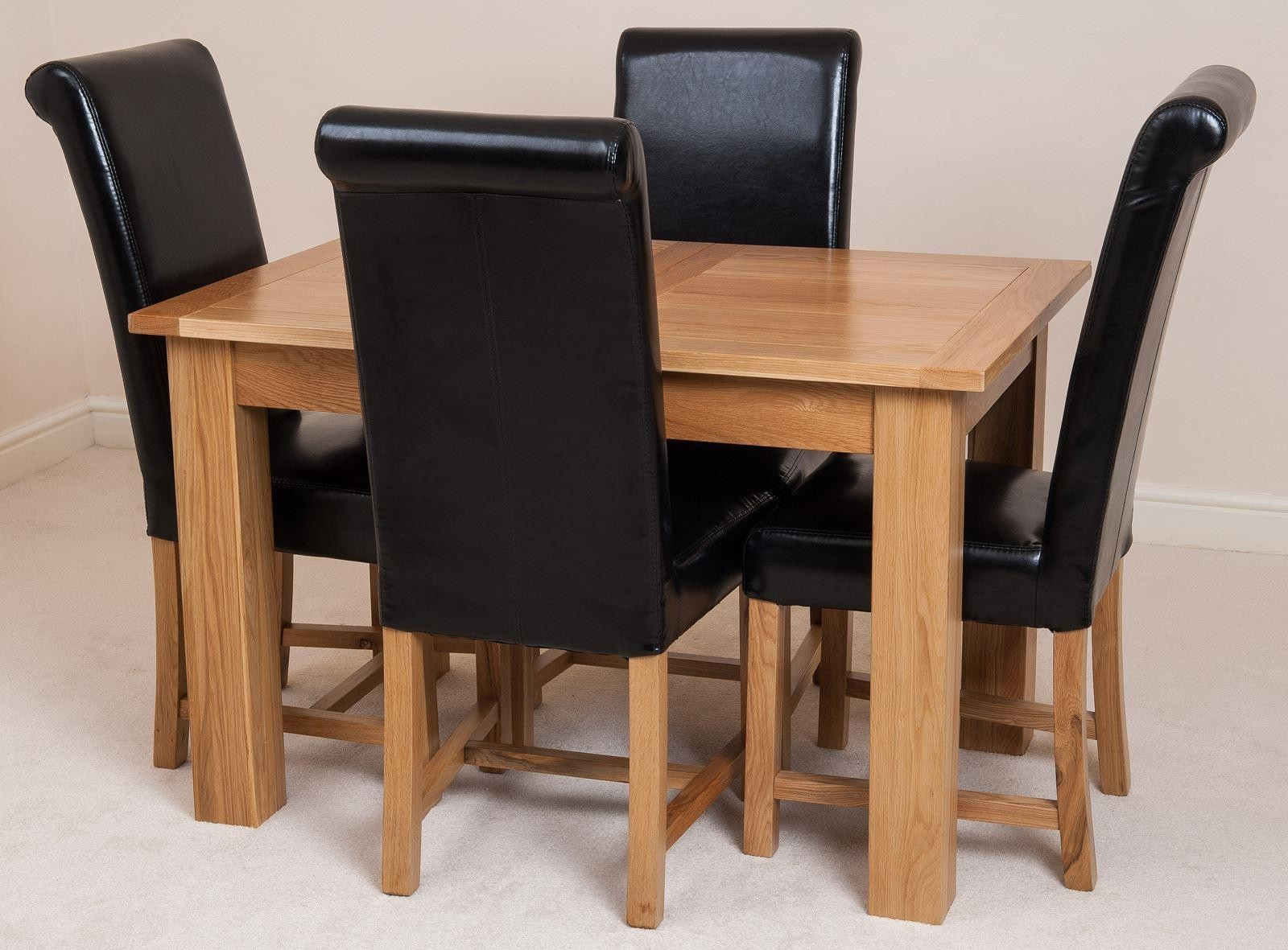 Hampton Extending Rustic Oak Dining Table With 4 Black With Regard To Most Recent Nazan 46'' Dining Tables (View 11 of 15)