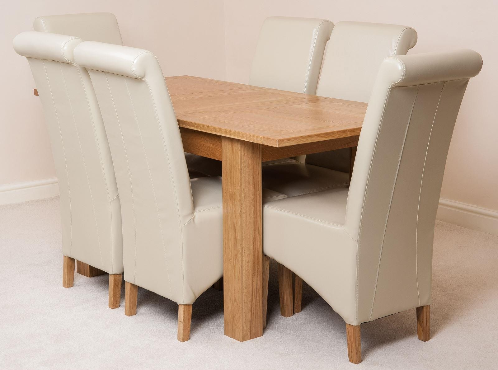 Hampton Extending Rustic Oak Dining Table With 6 Burgundy For Most Recent Bechet 38'' Dining Tables (View 14 of 15)