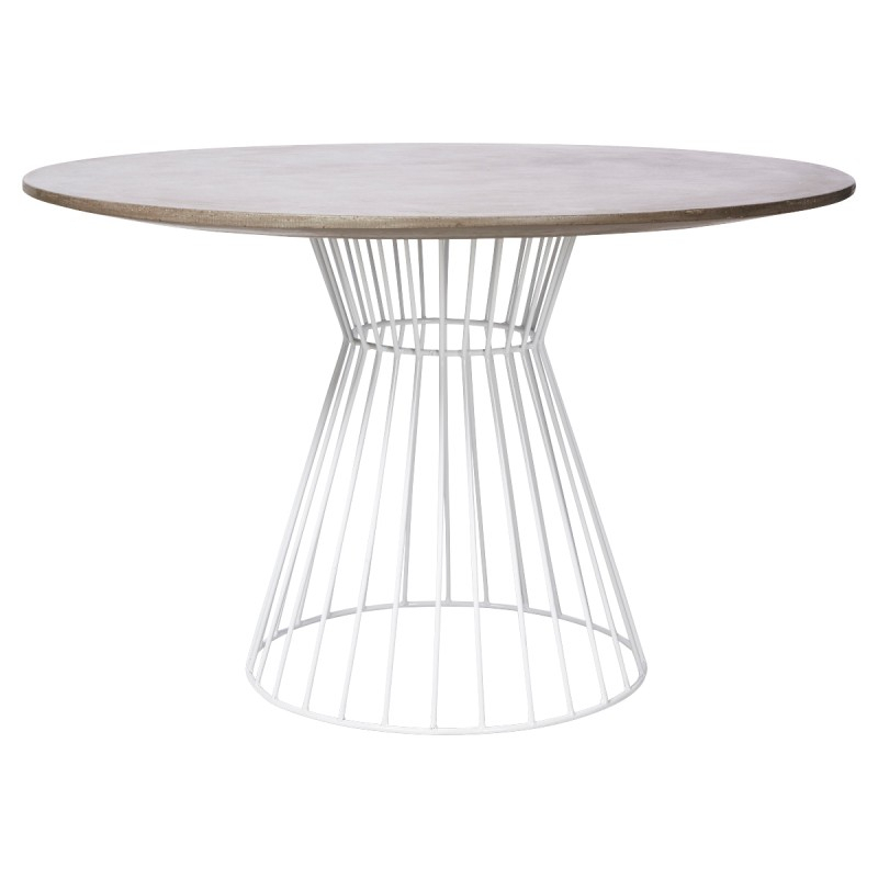 Hamptons Cement Top Iron Indoor / Outdoor Round Dining With Regard To Latest Dellaney 35'' Iron Dining Tables (View 11 of 15)