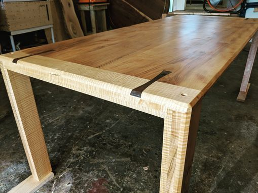 Hand Made Solid Maple Dining Table With Walnut Inlay Throughout Newest Tylor Maple Solid Wood Dining Tables (View 11 of 15)