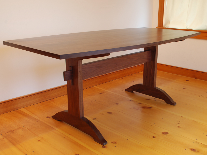 Handmade Shaker Walnut Trestle Table | Vermont Hardwood For Most Current Kara Trestle Dining Tables (View 9 of 15)