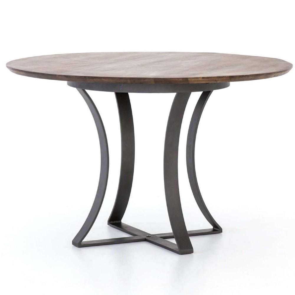 Hanna Modern Round Dark Wood Grey Iron Pedestal Dining For Recent Corvena 48'' Pedestal Dining Tables (View 12 of 15)