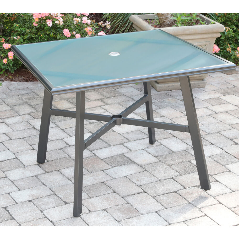 """Hanover All Weather Commercial Grade Aluminum 38"""" Square Intended For Most Current Bechet 38'' Dining Tables (View 3 of 15)"""