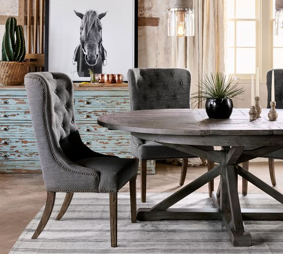 Hart Round Reclaimed Wood Pedestal Extending Dining Table With Regard To Most Recent Larkin  (View 10 of 15)