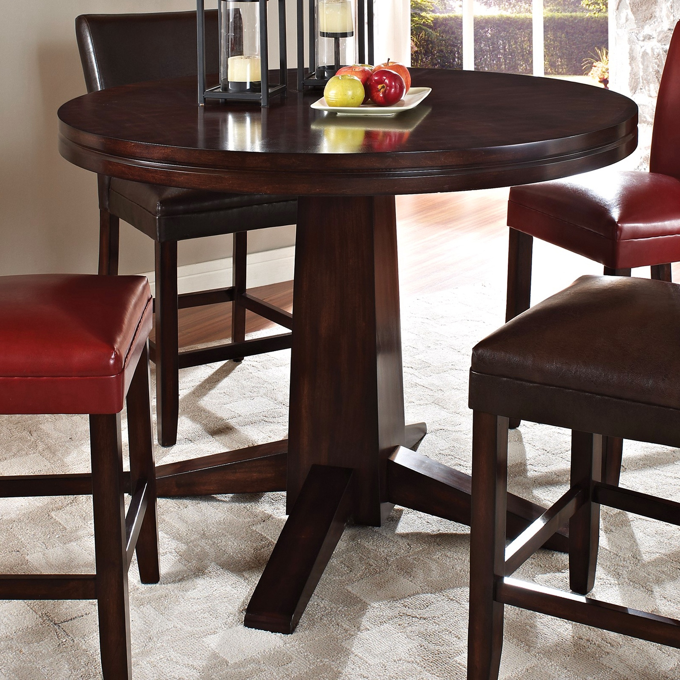 Hartford Counter Height Table With Fancy Face Dark Oak For Current Andreniki Bar Height Pedestal Dining Tables (View 5 of 15)