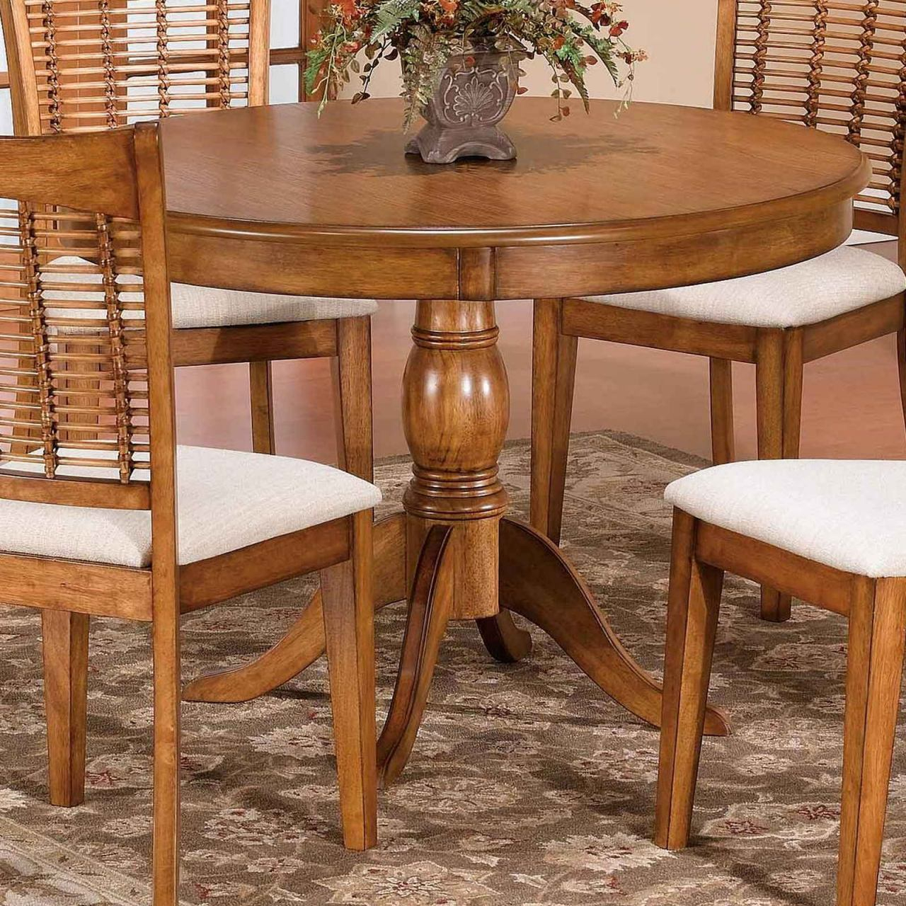"""Hillsdale Bayberry 44"""" Round Single Pedestal Dining Table Pertaining To Most Recently Released Serrato Pedestal Dining Tables (View 15 of 15)"""