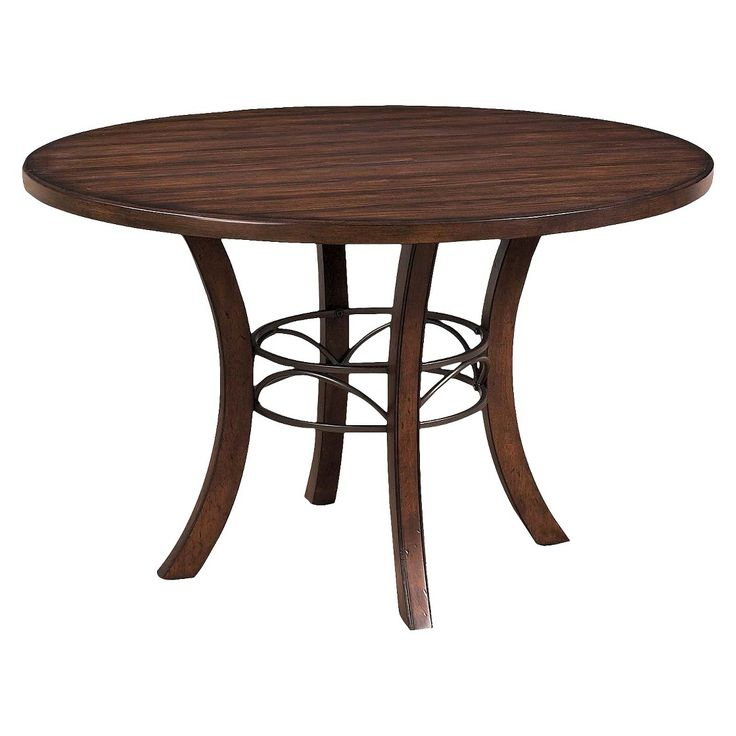 Hillsdale Cameron Round Wood Table With Metal Ring – Brown Within Most Recently Released Conerly  (View 7 of 15)