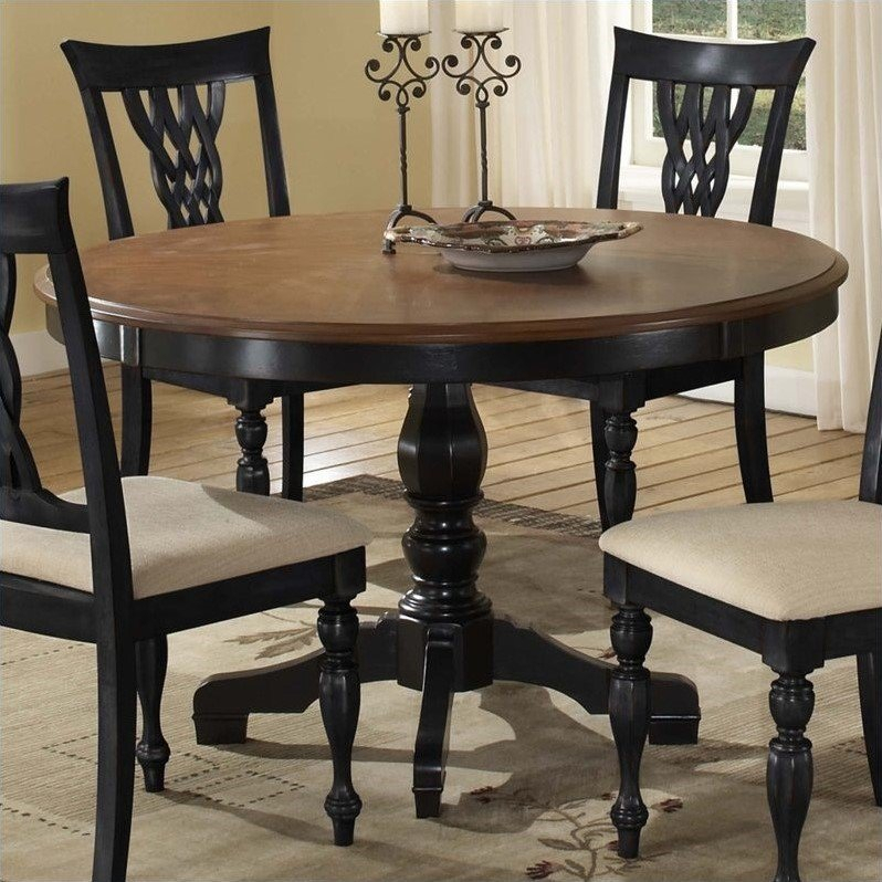 Hillsdale Embassy Round Pedestal Dining Table In Rubbed In 2017 Villani Pedestal Dining Tables (View 2 of 15)