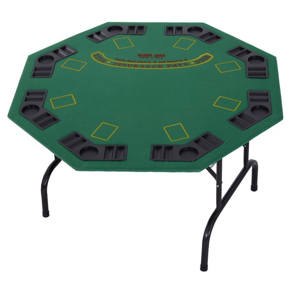 """Homcom Mdf 8 Player Folding Poker Table Green, Game Room For 2018 48"""" 6 – Player Poker Tables (View 9 of 15)"""