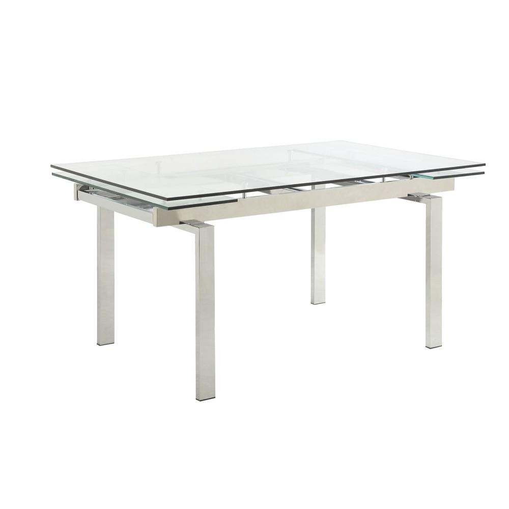 Home Benzara Modern Dining Table With Glass Top Dining Regarding Most Popular Sapulpa (View 3 of 15)