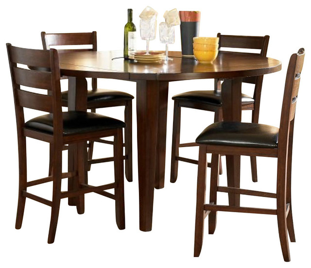 Homelegance Ameillia 5 Piece Drop Leaf Round Counter Regarding Current Eduarte Counter Height Dining Tables (View 11 of 15)