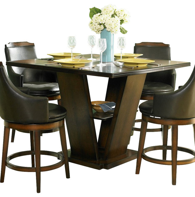 Homelegance Bayshore Square Pedestal Counter Height Table Regarding Most Recently Released Andrelle Bar Height Pedestal Dining Tables (View 5 of 15)