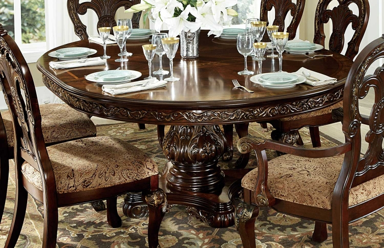 Homelegance Deryn Park Round Pedestal Dining Set – Cherry Pertaining To Most Popular Servin 43'' Pedestal Dining Tables (Photo 14 of 15)