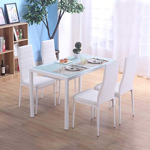 Homvent 5 Piece Home Table With 4 Chairs,Glass Kitchen With Newest Gunesh  (View 10 of 15)