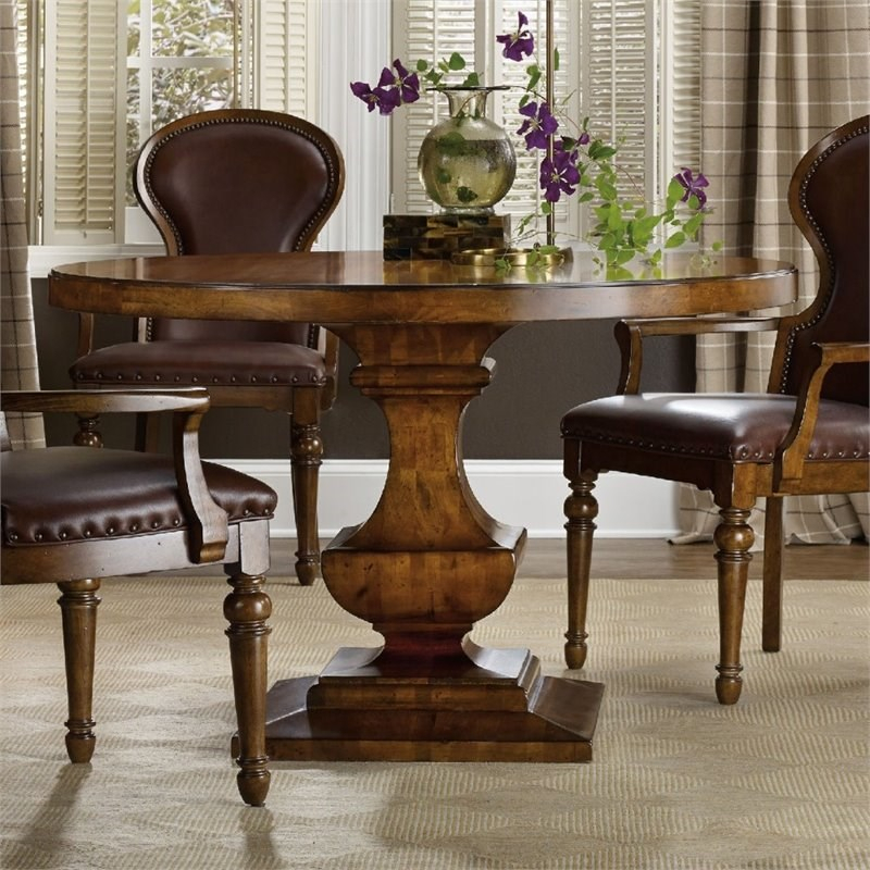 Hooker Furniture Tynecastle Round Pedestal Dining Table In For Recent Kirt Pedestal Dining Tables (View 7 of 15)