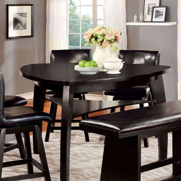 Hurley Cm3433Pt Black Wood Triangular Counter Height Table With Most Up To Date Counter Height Dining Tables (View 12 of 15)