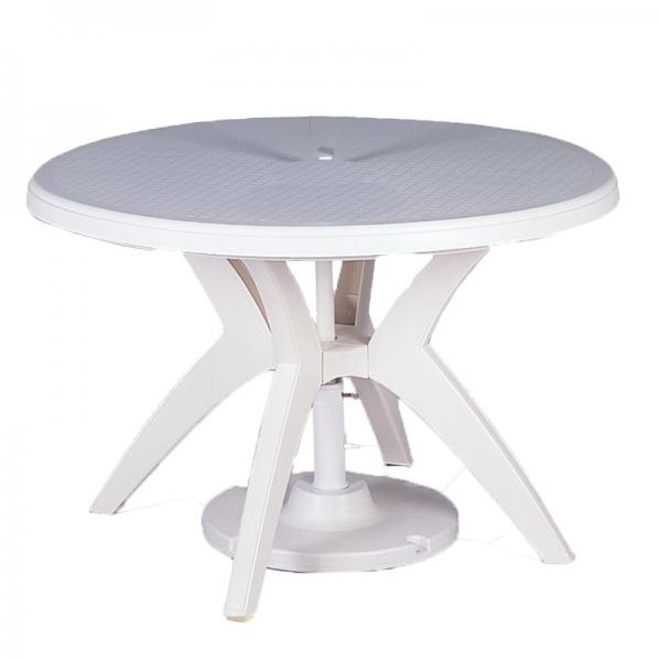 """Ibiza Outdoor Table, 46"""" Round, With Umbrella Hole, Uv With Newest Canalou 46'' Pedestal Dining Tables (View 7 of 15)"""