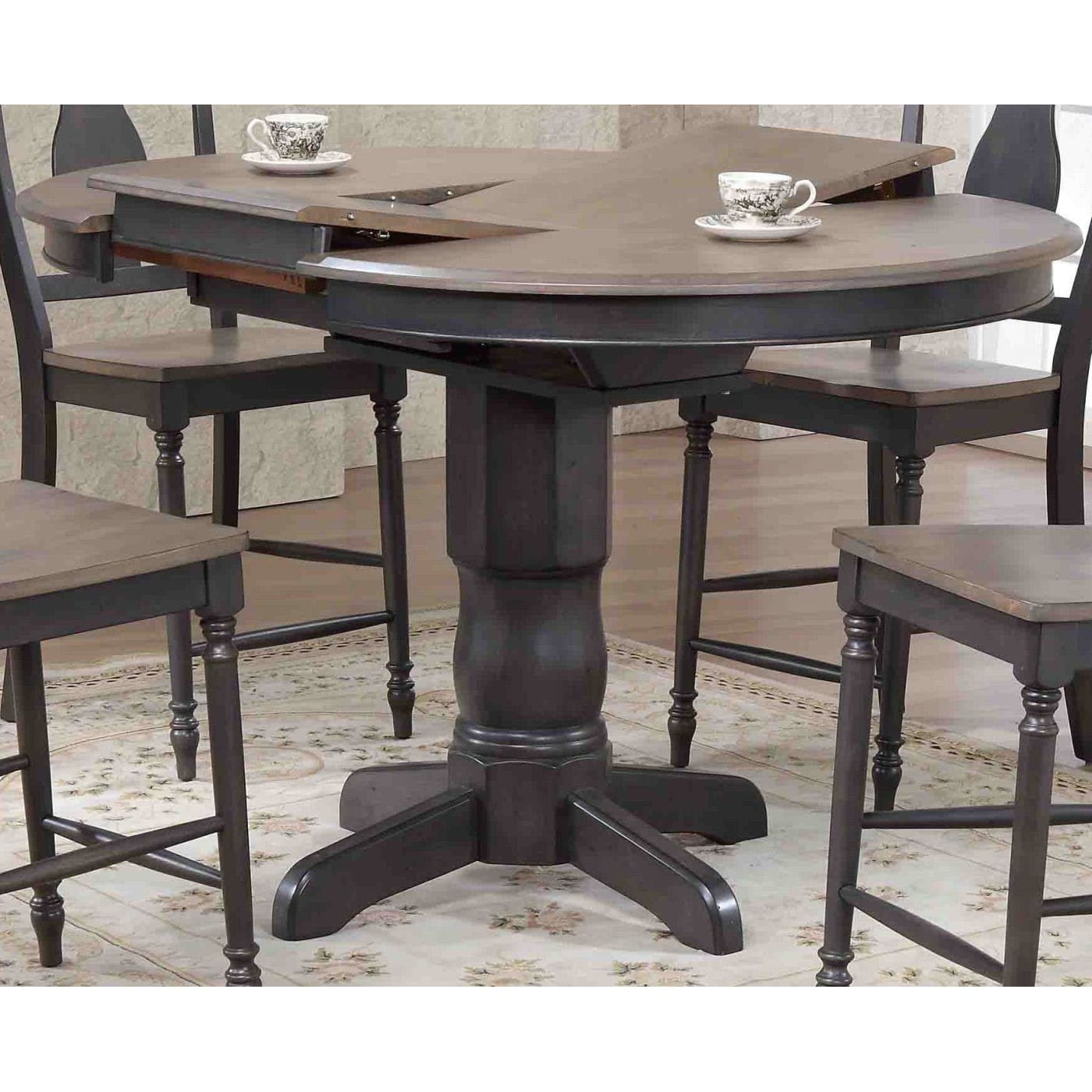 """Iconic Antiqued Grey & Black Stone 42"""" Round Counter Within Recent Darbonne 42'' Dining Tables (View 5 of 15)"""