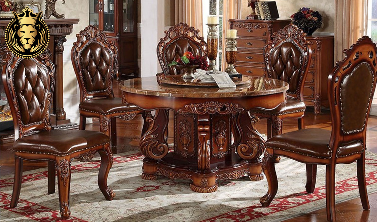 Indian Classic Style Hand Carved Round Dining Table | Royalzig Regarding Recent Classic Dining Tables (View 6 of 15)