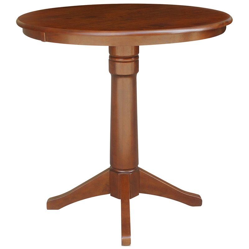 """International Concepts 36"""" Round Pedestal Counter Height Inside 2017 Charterville Counter Height Pedestal Dining Tables (View 10 of 15)"""