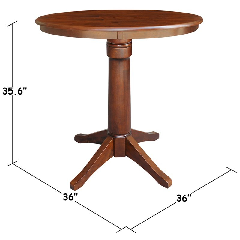 """International Concepts 36"""" Round Pedestal Counter Height Pertaining To Recent Barra Bar Height Pedestal Dining Tables (View 15 of 15)"""