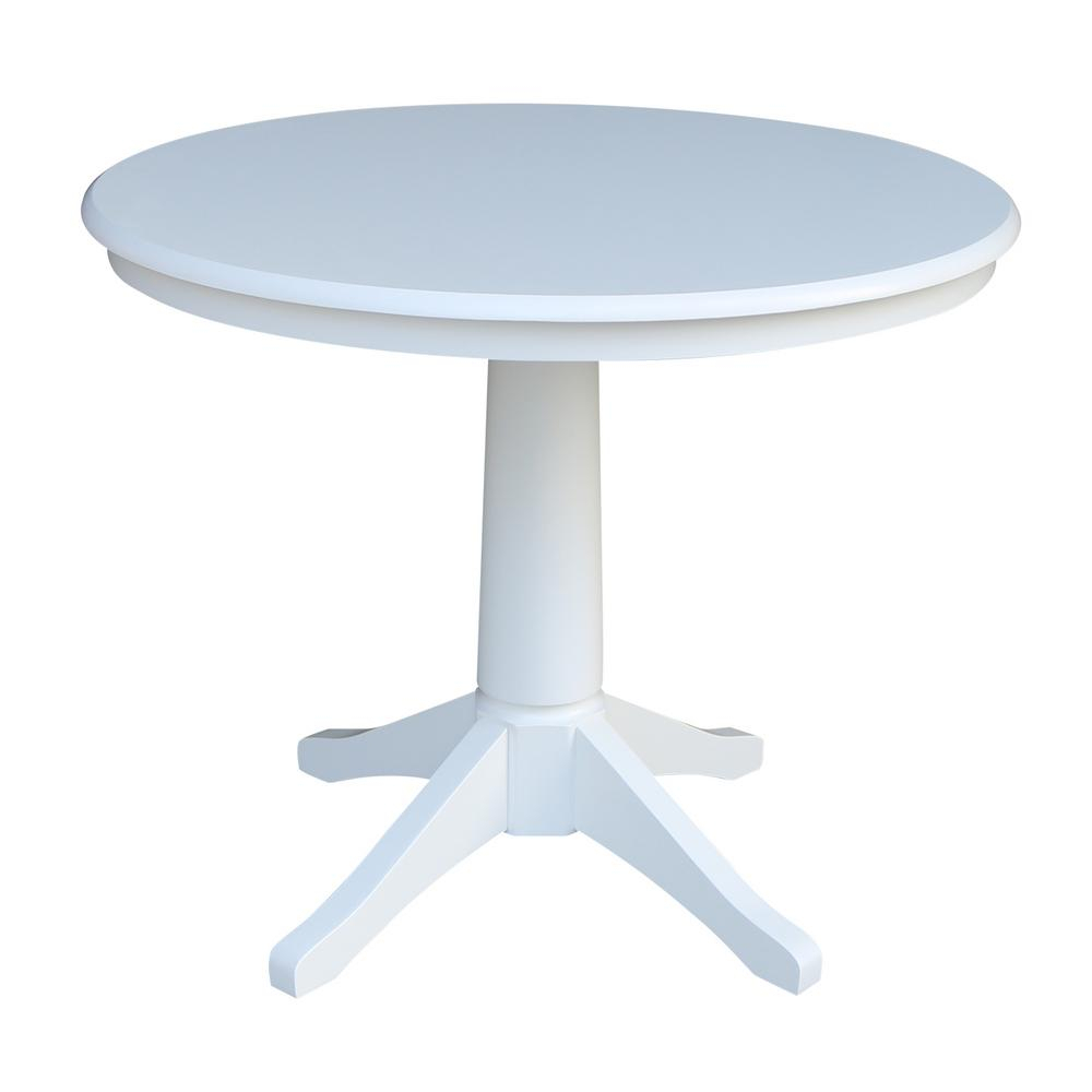 International Concepts Olivia White Solid Wood 36 In With 2018 Menifee 36'' Dining Tables (View 7 of 15)