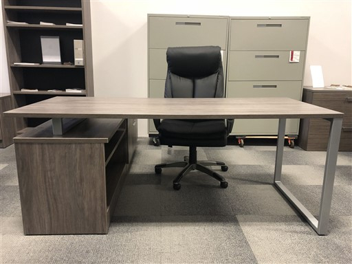 """Iof L Shape Desk With Drop Down Credenza And O Leg – 72″ X Regarding Most Current 72"""" L Breakroom Tables And Chair Set (View 8 of 15)"""