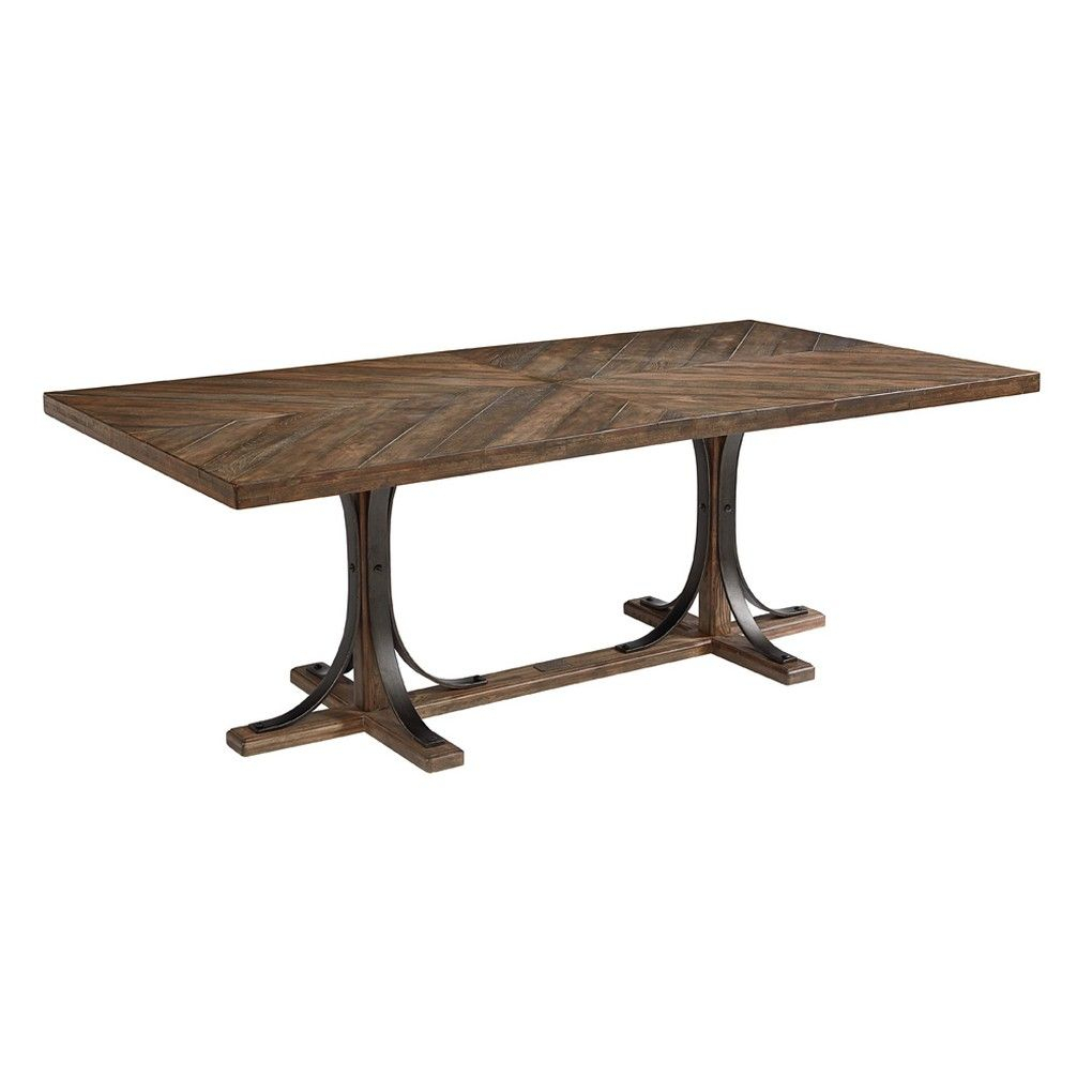 Iron Trestle Table | Magnolia Home | Traditional Dining With Recent Deonte 38'' Iron Dining Tables (View 6 of 15)