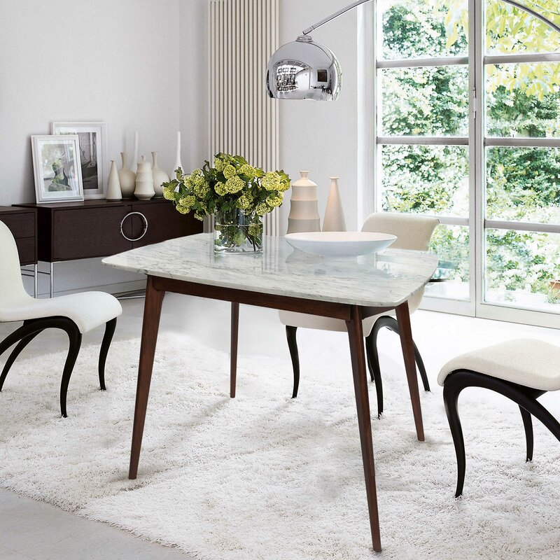 """Ivy Bronx Huldah 39"""" Square Italian Carrara White Marble With 2018 Balfour 39'' Dining Tables (View 12 of 15)"""