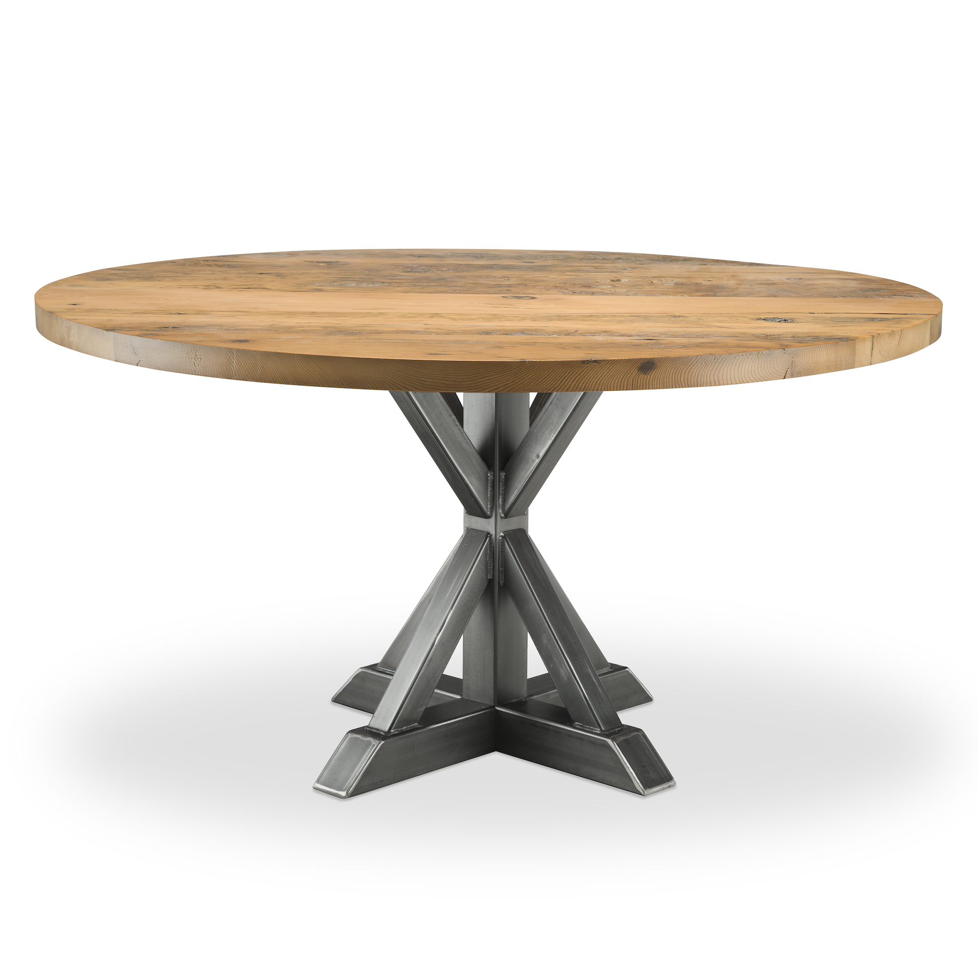 Jackson Reclaimed Wood Single Pedestal | Woodcraft | Solid In Current Gaspard Maple Solid Wood Pedestal Dining Tables (View 4 of 15)