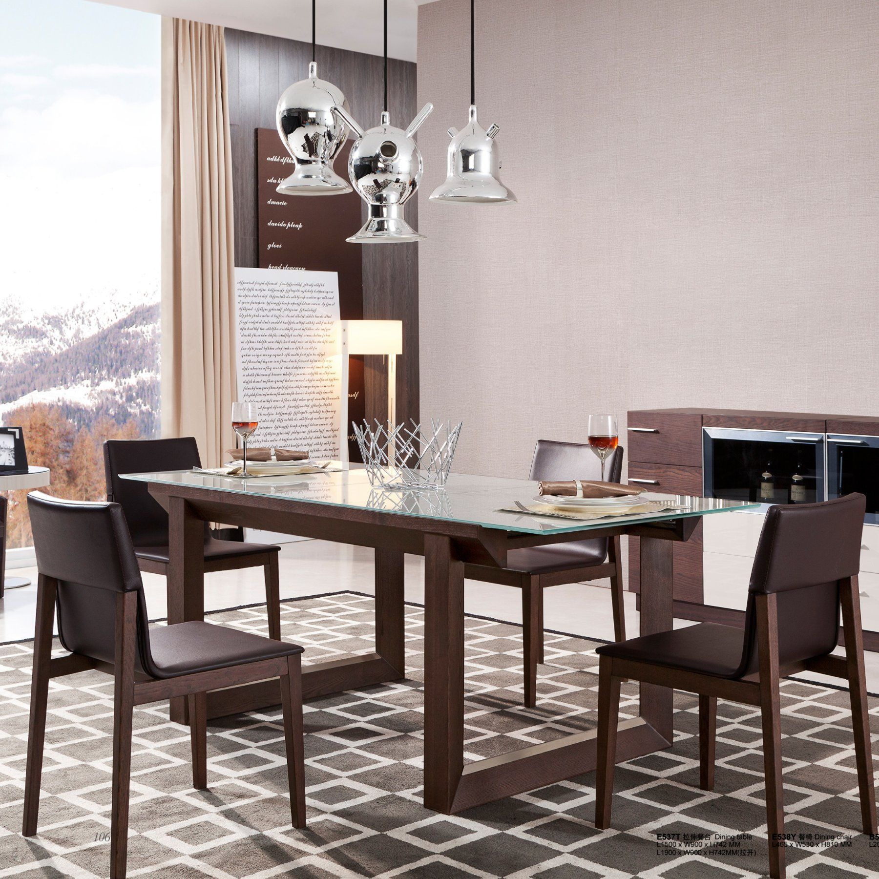 J&M Furniture E537Y Extendable Glass Top Dining Table With Regard To Most Recently Released Nazan 46'' Dining Tables (View 13 of 15)