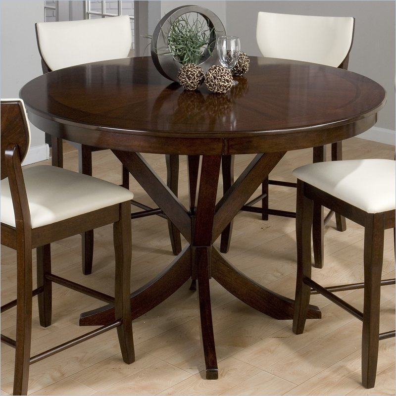 Jofran 43354 Satin Counter Height Round Dining Table With Recent Andreniki Bar Height Pedestal Dining Tables (View 7 of 15)