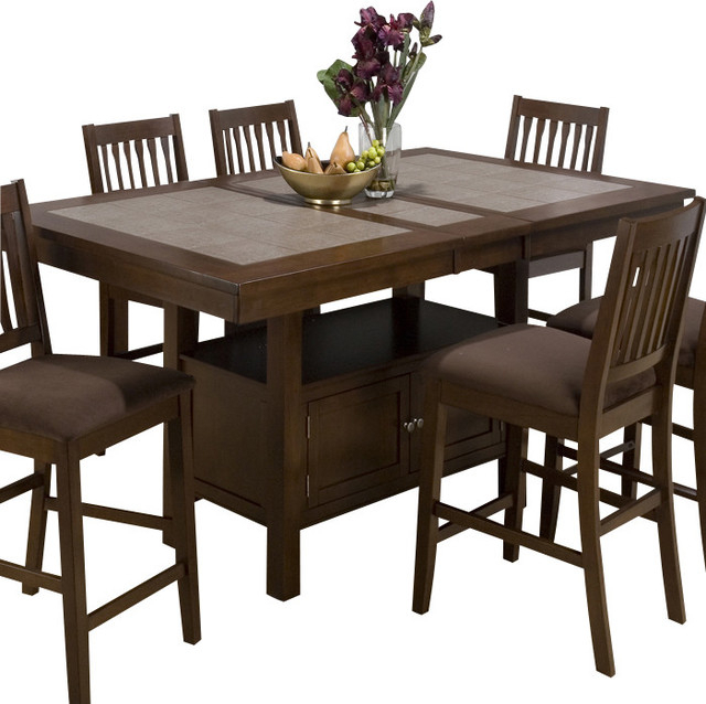 Jofran 976 Caleb Brown Tile Top Counter Height Table With Intended For 2017 Romriell Bar Height Trestle Dining Tables (View 15 of 15)