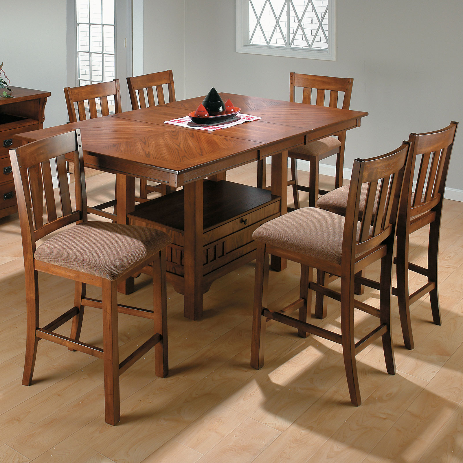 Jofran Saddle Brown 7 Piece Rectangular Counter Height In Most Popular Shoaib Counter Height Dining Tables (Photo 7 of 15)