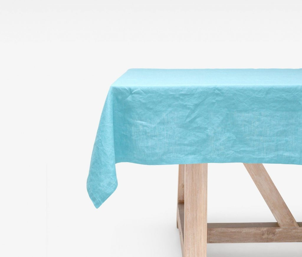 """Johanna Blue 112""""L X 70""""W Rectangular Tablecloth – Harbour Within Best And Newest Murphey Rectangle 112"""" L X 40"""" W Tables (View 15 of 15)"""
