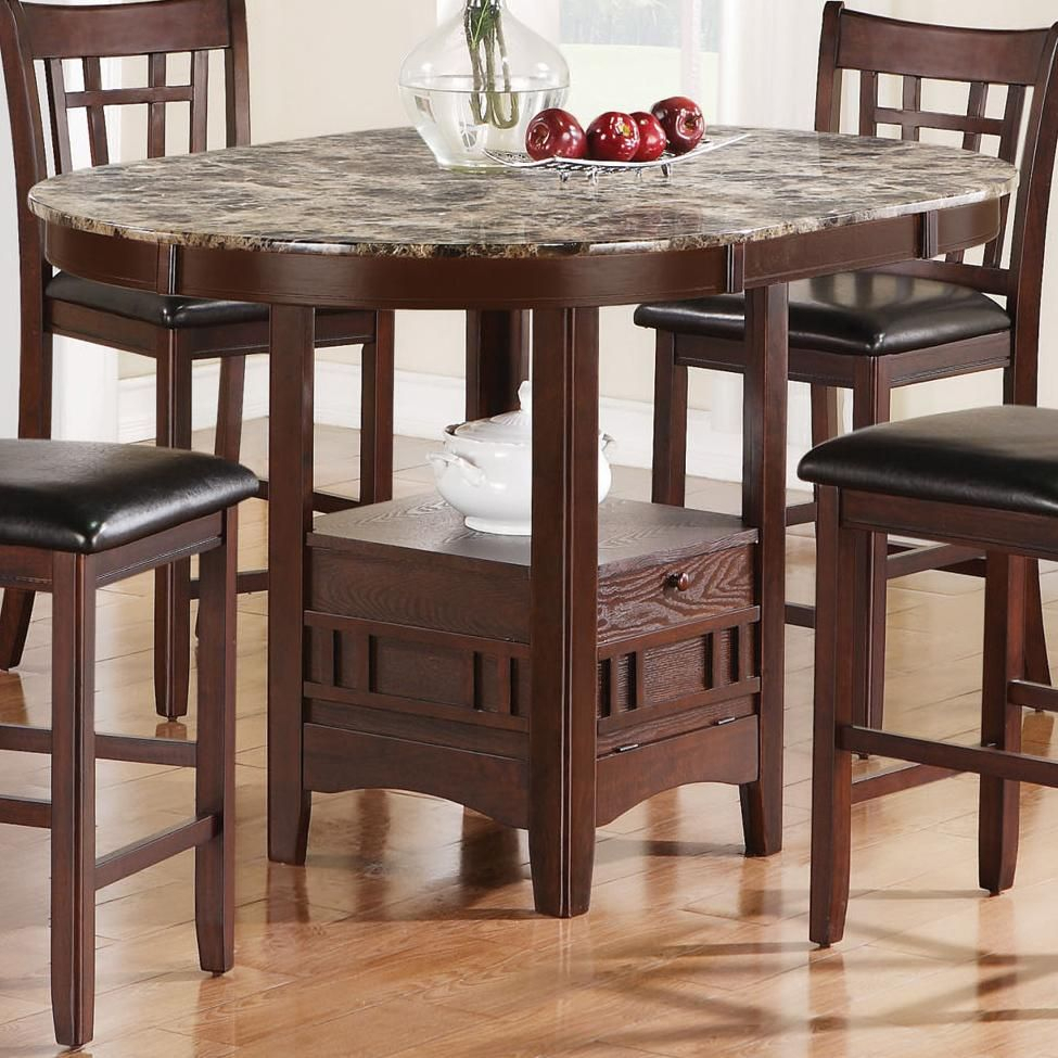 Jovan Counter Height Table With Faux Marble Topcoaster With Regard To Best And Newest Mciver Counter Height Dining Tables (View 15 of 15)