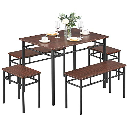 Kealive Dining Table Set With Bench 5 Pieces Modern Wood Intended For Latest Conerly  (View 11 of 15)