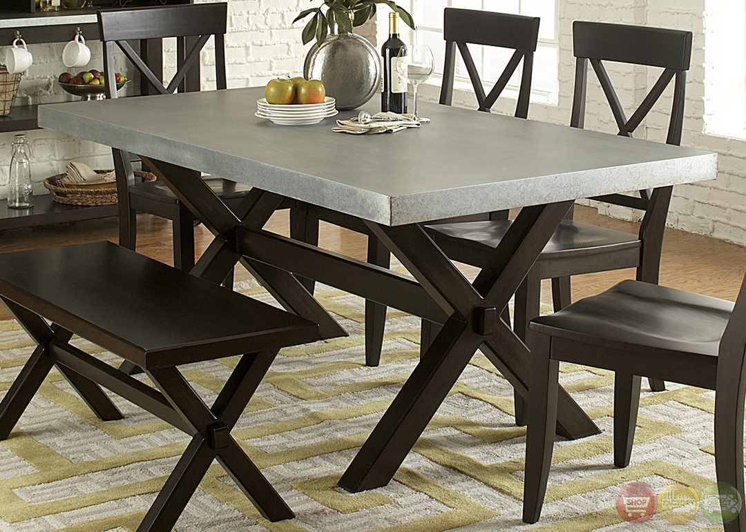 Keaton Charcoal Finish Trestle Table Casual Dining Set With Recent Trestle Dining Tables (View 13 of 15)