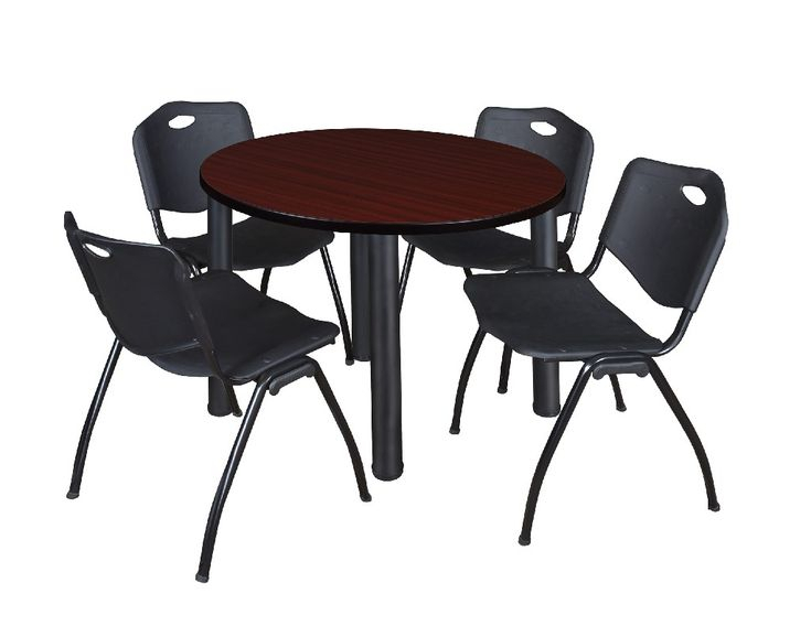 """Kee 36"""" Round Breakroom Table In Mahogany/ Black & 4 'M With Regard To 2017 Round Breakroom Tables And Chair Set (View 3 of 15)"""