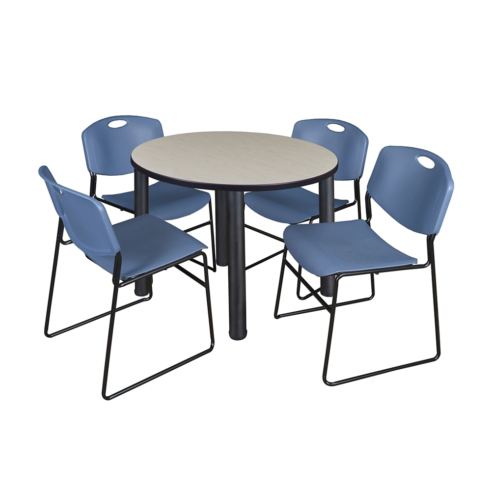 """Kee 36"""" Round Breakroom Table Maple/ Black & 4 Zeng Stack Throughout Most Recent Round Breakroom Tables And Chair Set (View 10 of 15)"""