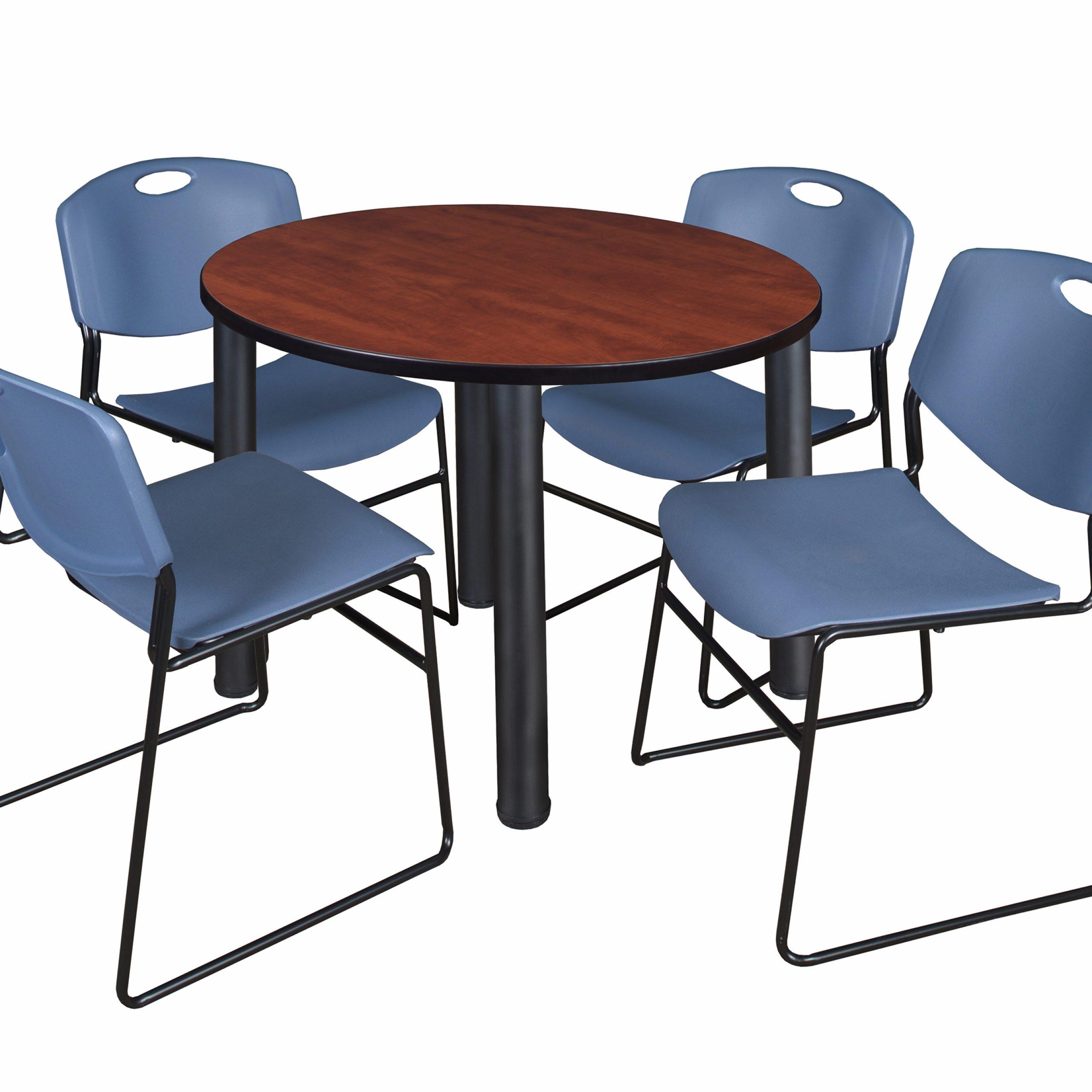 "Kee 42"" Round Breakroom Table Cherry/ Black & 4 Zeng Throughout Newest Mode Round Breakroom Tables (View 6 of 15)"