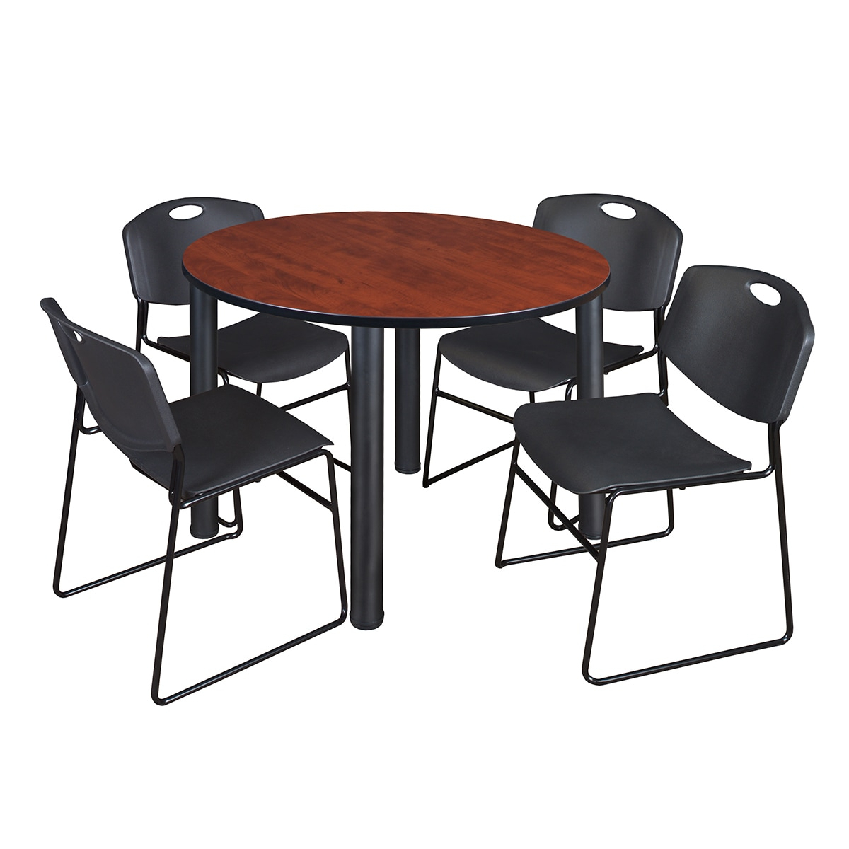 """Kee 48"""" Round Breakroom Table Black & 4 Zeng Stack Chairs Regarding Current Round Breakroom Tables And Chair Set (View 14 of 15)"""